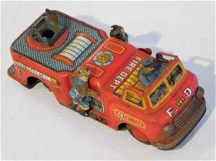 VINTAGE TIN TOY FIRE TRUCK WITH MOVING PARTS ANTIQUE