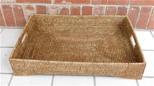 WOVEN BASKET TRAY PRIMITIVE VINTAGE ANTIQUE NEW ENGLAND