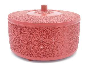 RED LAQUER LIDDED DISH