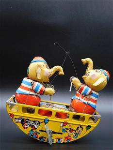 ELEPHANTS IN BOAT TOY TIN LITHO WINDUP VINTAGE ANTIQUE