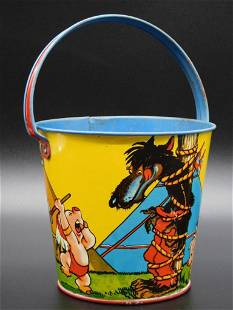 THREE LITTLE PIGS AND WOLF BUCKET T. COHN TOY TIN LITHO