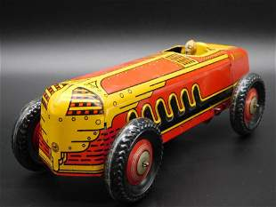 MARX ROADSTER RACE CAR WITH DRIVER TOY TIN LITHO WINDUP