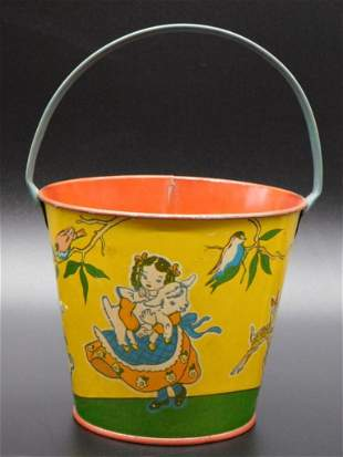 MARY HAD A LITTLE LAMB SAND PAIL TOY TIN LITHO WINDUP