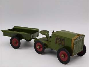 KINGSBURY TRACTOR WITH TRAILER TOY TIN LITHO WINDUP