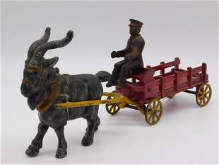 GOAT DRAWN WAGON CART WITH DRIVER TOY TIN LITHO WINDUP