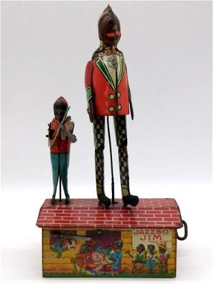 JAZZBO JIM THE DANCER ON THE ROOF TOY TIN LITHO WINDUP