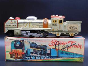 SILVER TRAIN PACIFIC MOUNTAIN LINES TOY TIN LITHO