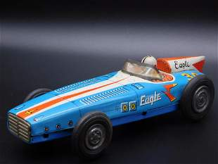 EAGLE RACE CAR WITH DRIVER TOY TIN LITHO WINDUP VINTAGE