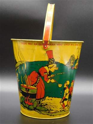 OLD WOMAN WHO LIVED IN A SHOE SAND PAIL TOY TIN LITHO