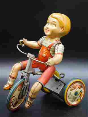 KIDDY CYCLIST UNIQUE ART TOY TIN LITHO WINDUP VINTAGE