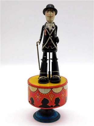S&E DANCING DAPPER MAN WITH CANE TOY TIN LITHO WINDUP