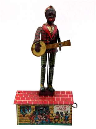 UNIQUE ART JAZZBO JIM THE DANCER ON THE ROOF TOY TIN