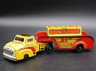 WYANDOTTE FIRE DEPARTMENT TRUCK AND TRAILER TIN TOY