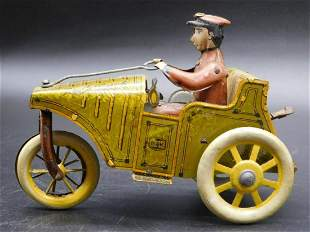 B&K CAR WITH DRIVER TIN TOY VINTAGE ANTIQUE COLLECTIBLE