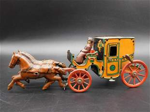HORSE AND CARRIAGE GERMAN TOY VINTAGE ANTIQUE