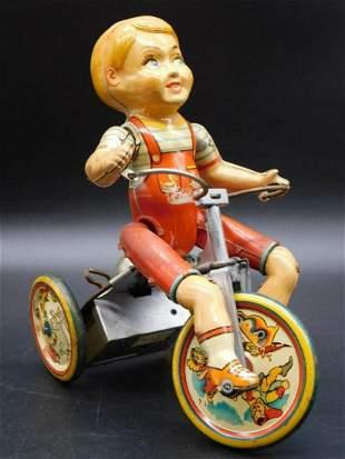 KIDDY CYCLIST UNIQUE ART TIN TOY VINTAGE ANTIQUE
