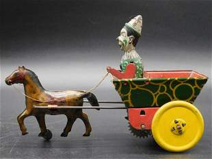 CLOWN DRIVING CARRIAGE TIN TOY VINTAGE ANTIQUE