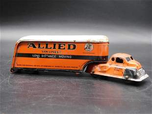 ALLIED VAN LINES MOVING TRUCK WITH TRAILER TOYS VINTAGE