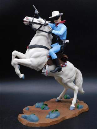 1966 LONE RANGER AND SILVER STATUE TOYS VINTAGE ANTIQUE