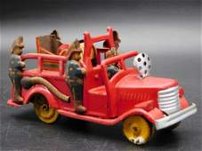 FIRE TRUCK WITH FIRE FIGHTERS TIN TOY VINTAGE ANTIQUE