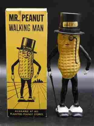 MR PEANUT WIND-UP WALKING MAN WITH ORIGINAL BOX TOY