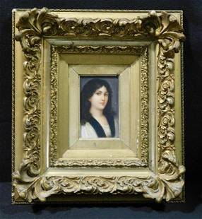 RARE PORTRAIT OF WOMAN IN INTRICATE FRAME VINTAGE