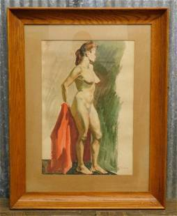 NUDE PAINTING ANTIQUE PINUP FRAMED