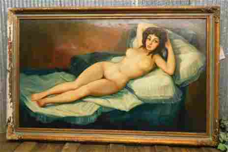 FINE ARTS CHICAGO NUDE WOMAN PAINTING 3X6 1964