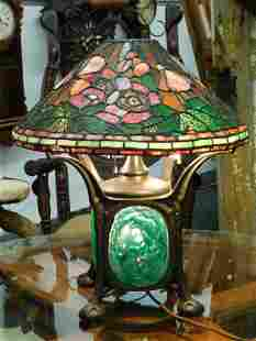 STAINED GLASS BOTANICAL LAMP ANTIQUE& VINTAGE