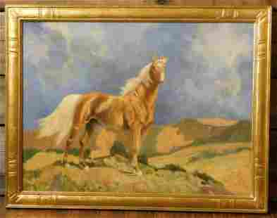 PALOMINO STALLION BY ROBER WESLEY AMICK PAINTING OIL ON