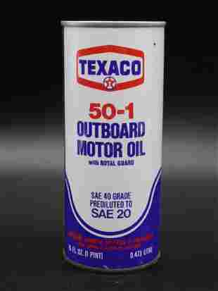 TEXACO OUTBOARD MOTOR OIL CAN ADVERTISING VINTAGE