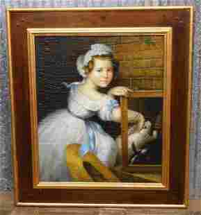 OIL PAINTING GIRL WITH RABBITS