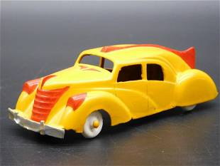 HUBLEY YELLOW AND RED CAR METAL TOY