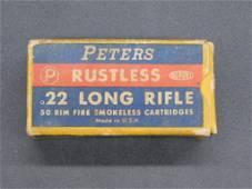 PETERS RUSTLES 22 LONG RIFLE VINTAGE AMMO IN FULL