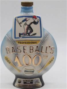 BASEBALL'S 100TH ANNIVERSARY BEAM DECANTER FIGURAL