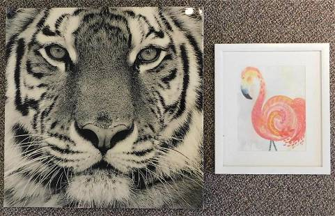 ANIMAL PAINTINGS SET OF 2 VINTAGE ANTIQUE COLLECTIBLE