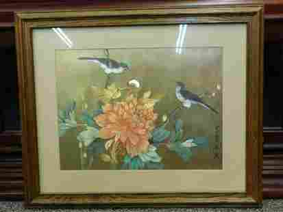 FRAMED BIRD PAINTING ANTIQUES, ADVERTISING, BOOKS,