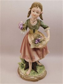 GIRL WITH GRAPES BISQUE FIGURINE ANDREA BY SADEK