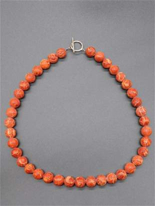 CORAL BEADED CORAL NECKLACE BEAD