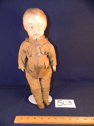 COMPOSITION WW1 SOLDIER DOLL, Hat included but not in