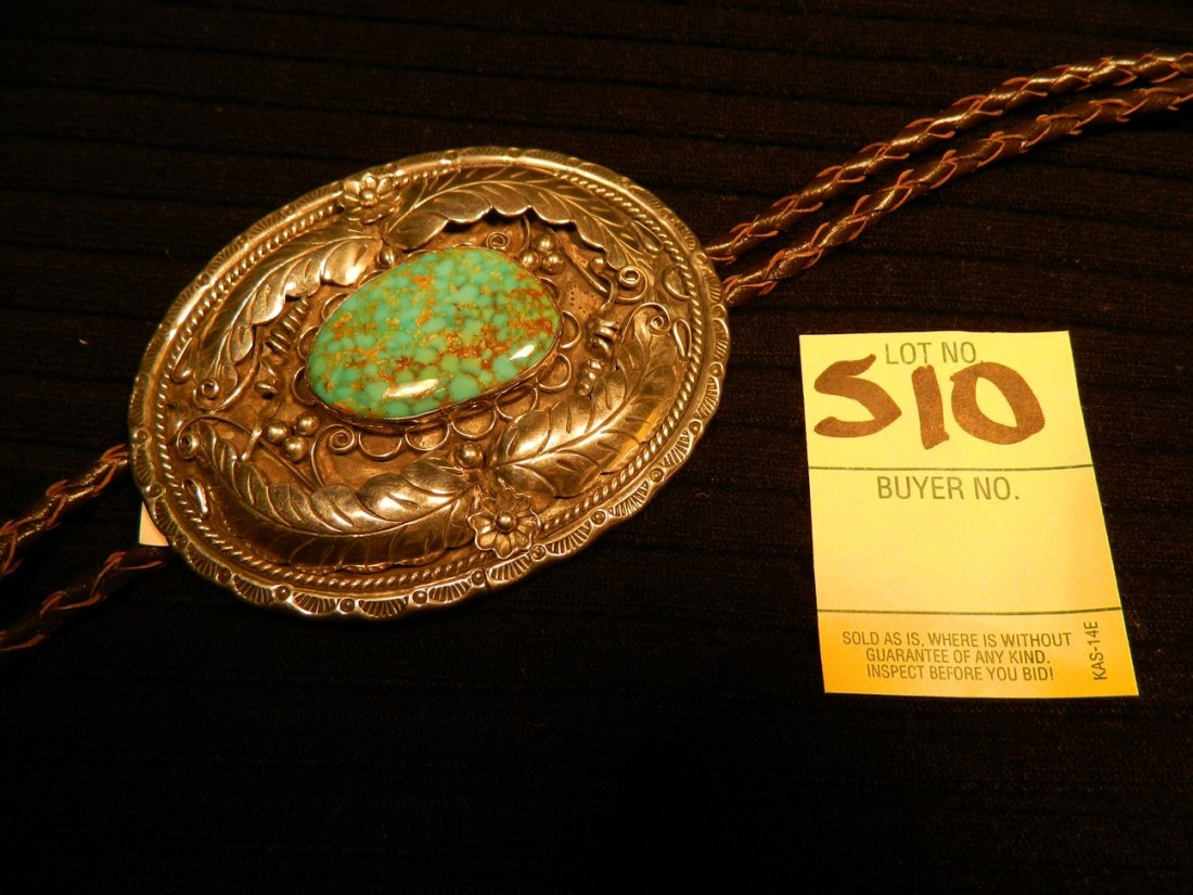 STERLING TURQUOISE BOLO TIE 12 GRAMS UNMARKED