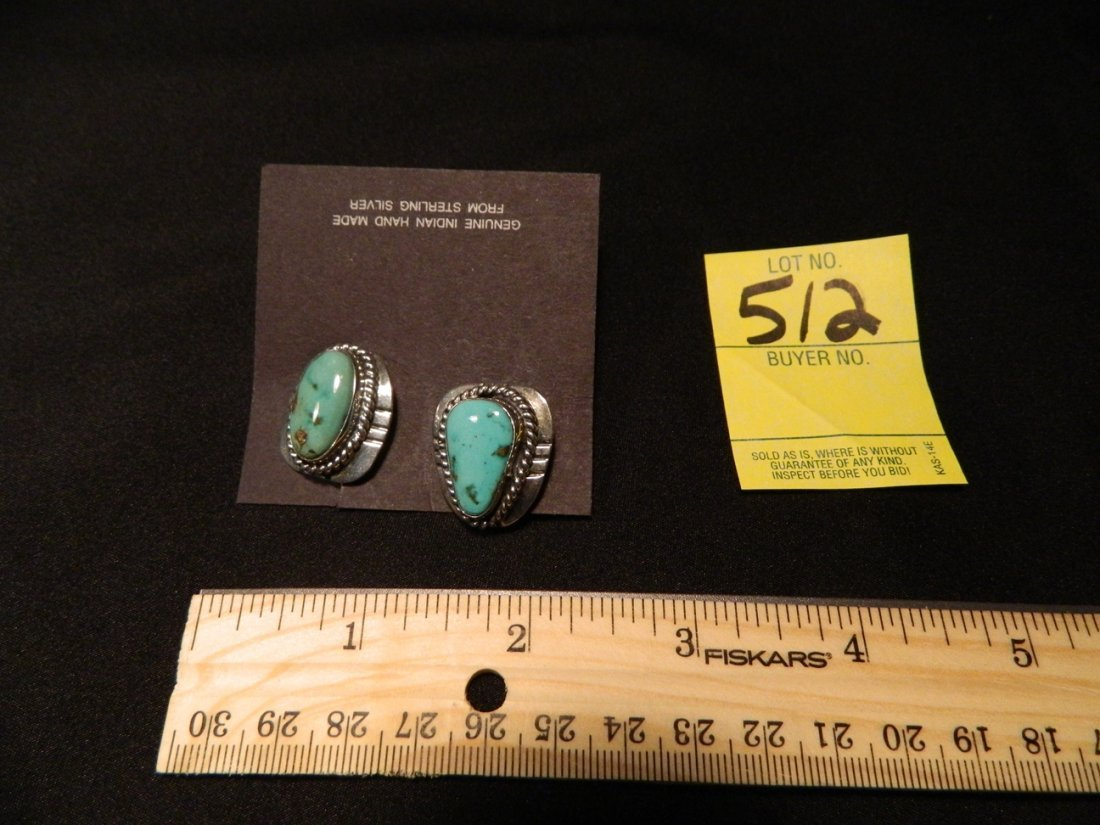 STERLING TURQUOISE INDIAN MADE CUFFLINKS