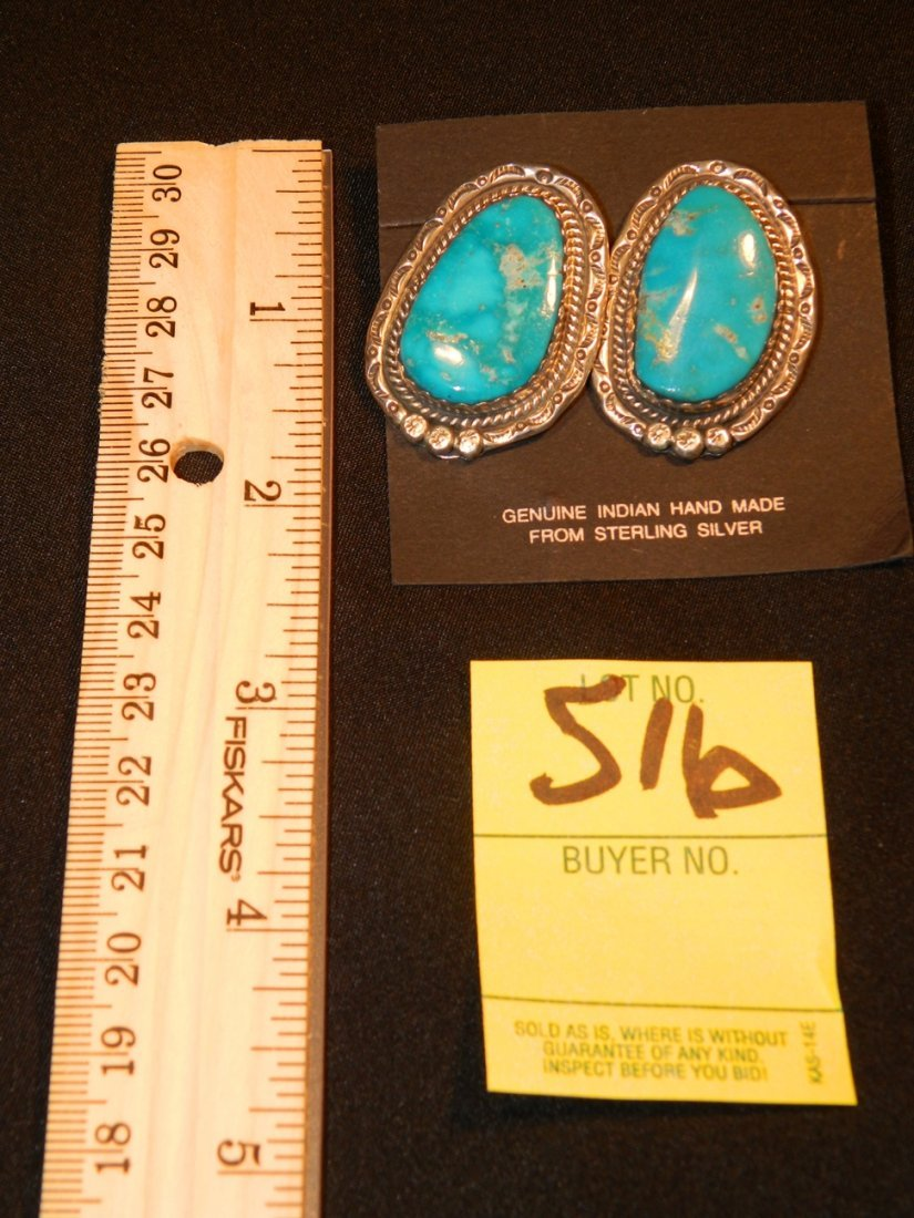 STERLING TURQUOISE EARRINGS INDIAN MADE