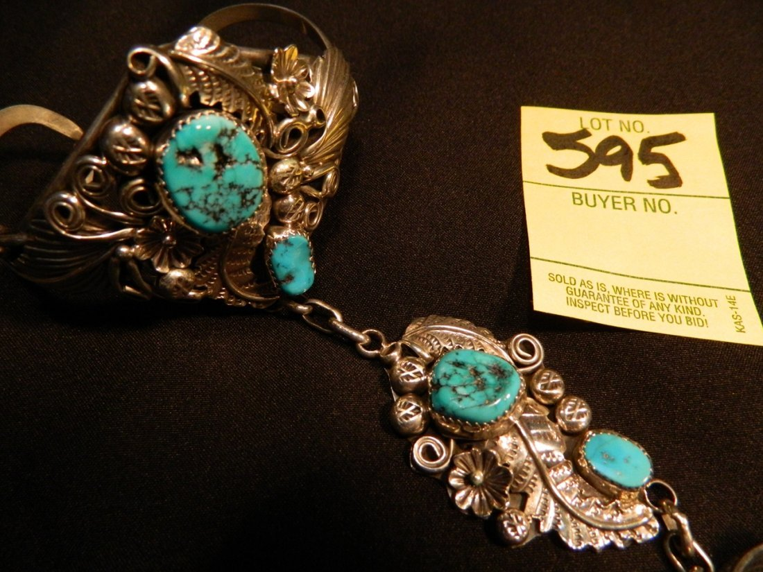 "STERLING TURQUOISE SLAVE BRACELET /RING MARKED ""HBY"" 13 - 2"