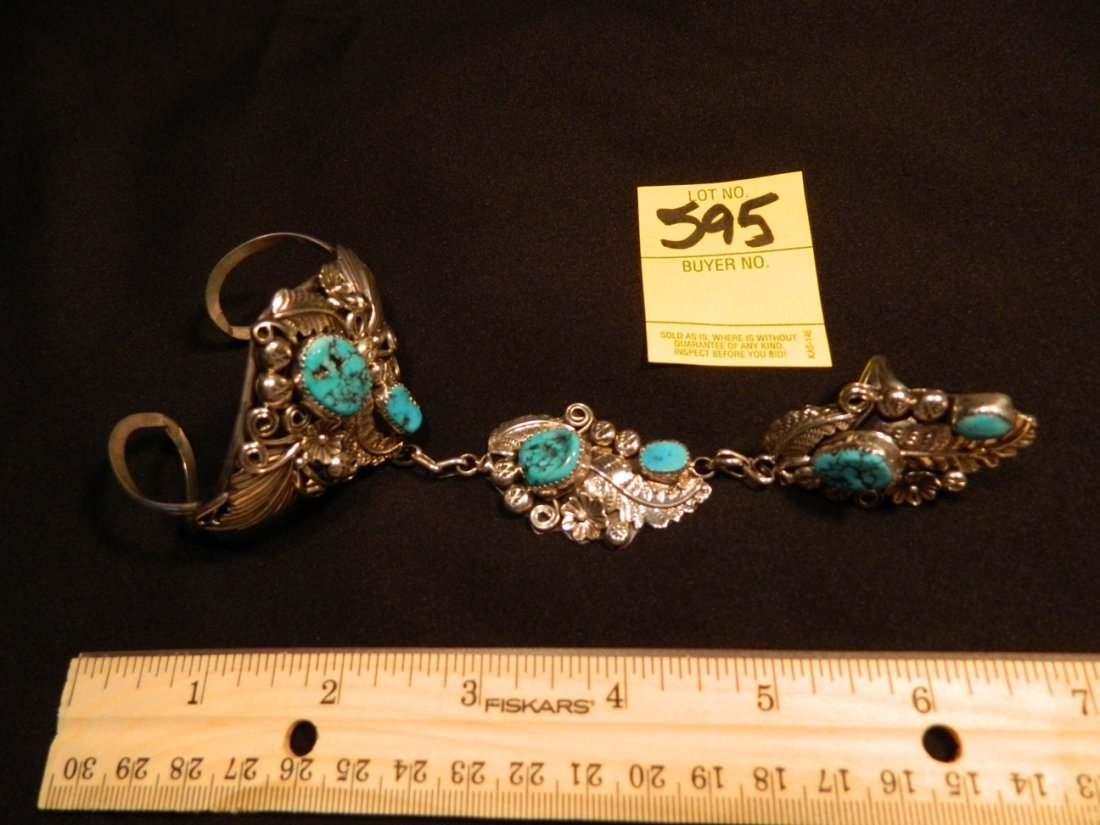 "STERLING TURQUOISE SLAVE BRACELET /RING MARKED ""HBY"" 13 - 4"
