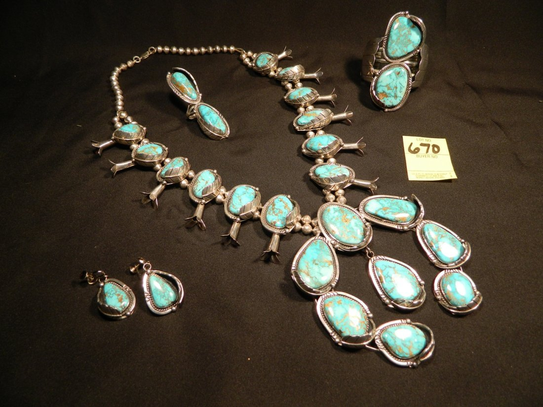 STERLING TURQUOISE ENORMOUS SQUASH BLOSSOM NECKLACE,