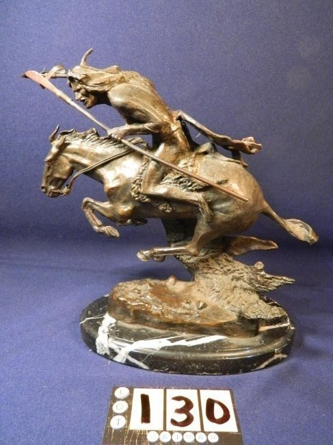 Frederic Remington Bronze Indian Warrior 1982 by M Lar