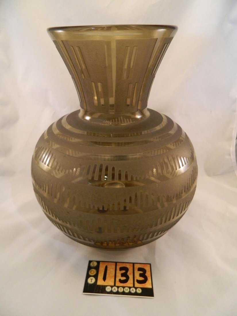 Daum Nancy Large Amber Art Deco Vase