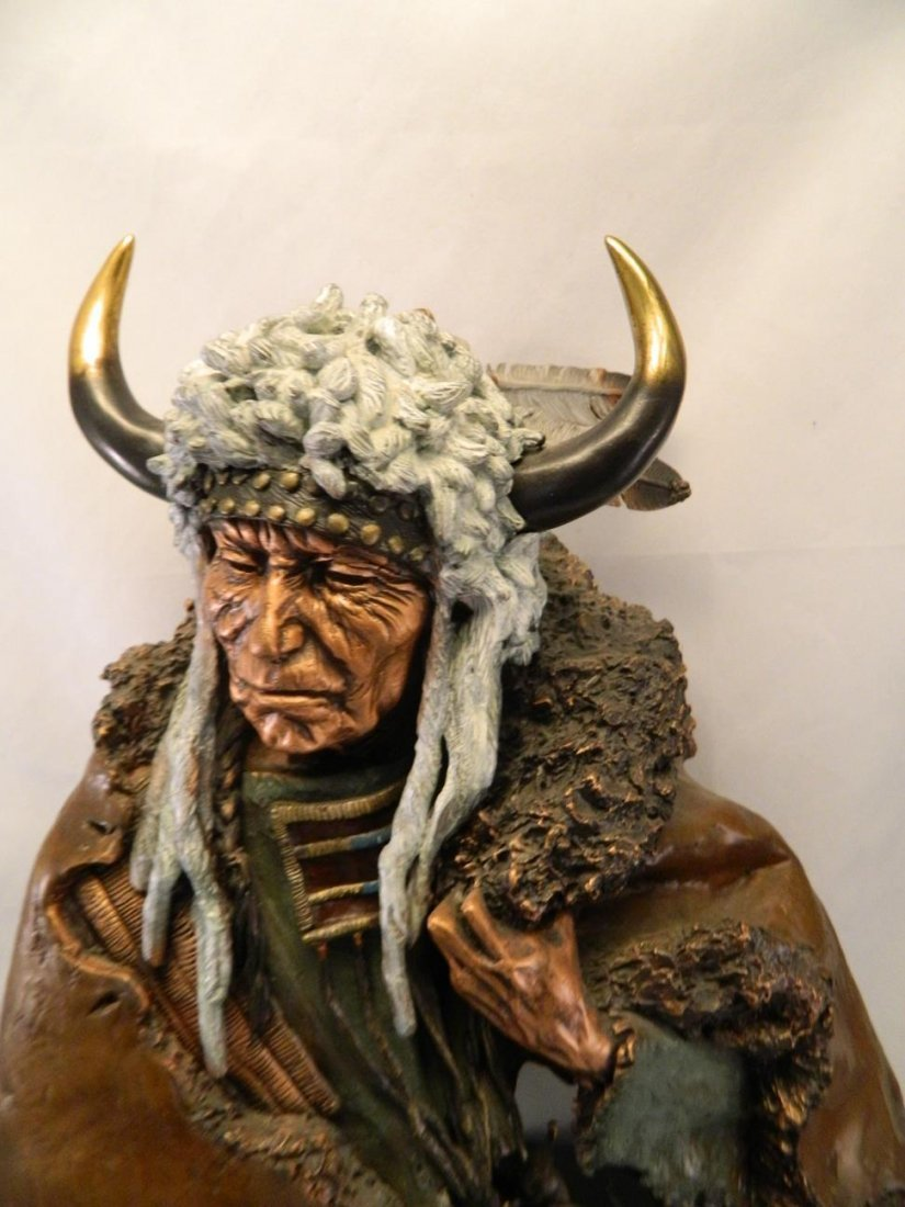 Indian Chief Bronze 1994 Legends Italian Marble Base