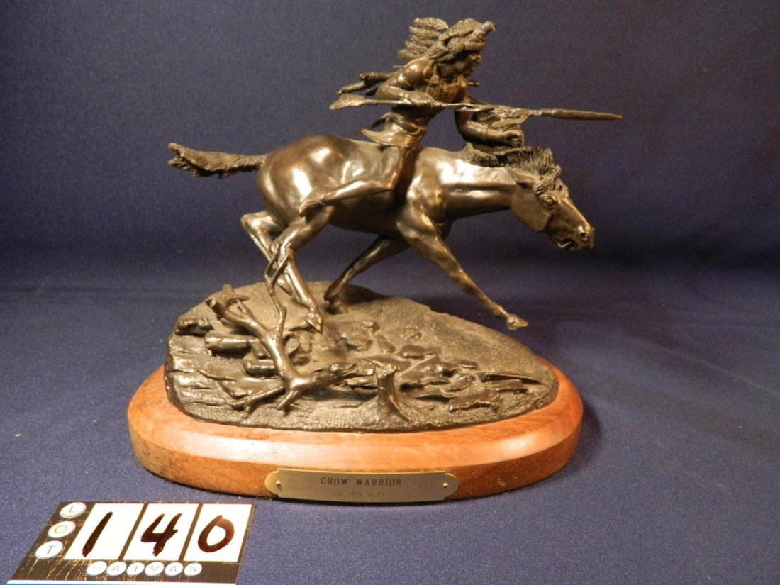 Jack Riley Crow Warrior Indian Native American Bronze